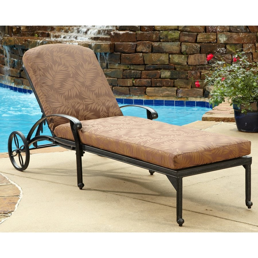 Home Styles Floral Blossom Charcoal Aluminum Patio Chaise Lounge Chair
