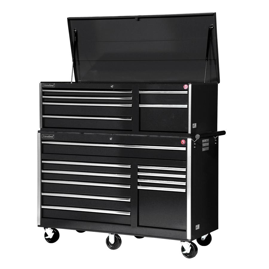 International Tool Storage 16-Drawer Ball-Bearing Steel Tool Cabinet (Black)