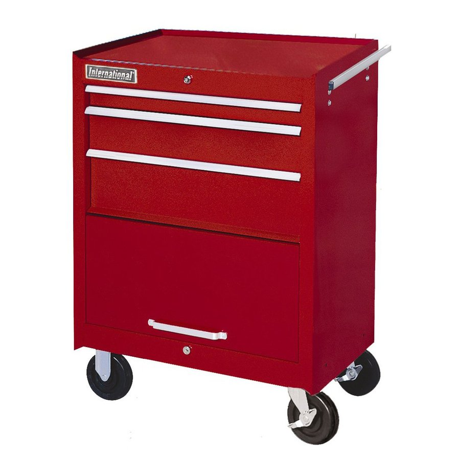 International Tool Storage 35-5/8-in x 27-in 3-Drawer Friction Steel Tool Cabinet (Red)