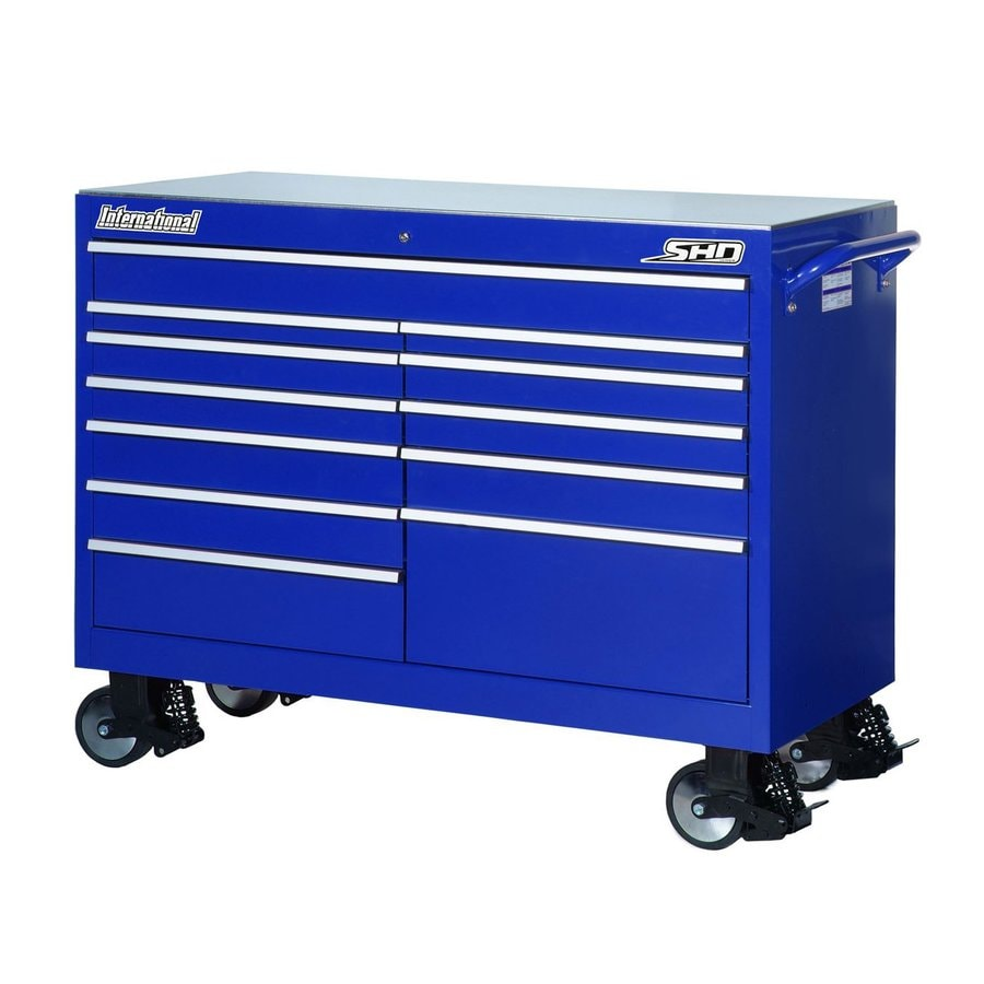 International Tool Storage 43-in x 53-1/2-in 12-Drawer Ball-Bearing Steel Tool Cabinet (Blue)