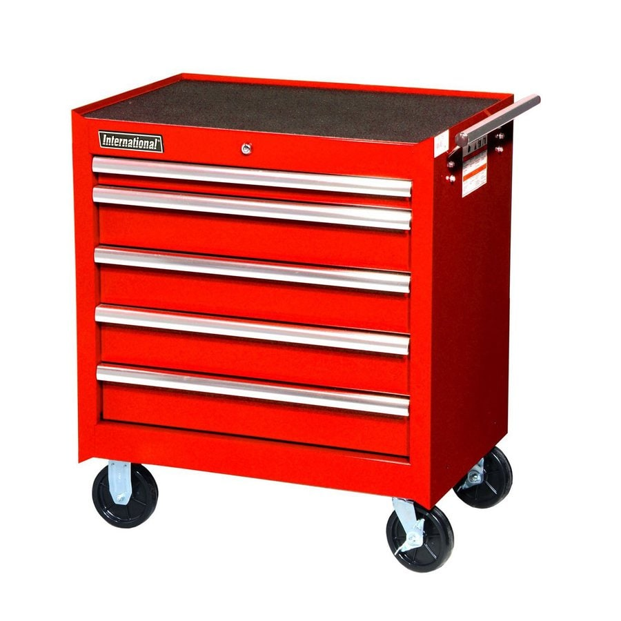 International Tool Storage 31-1/4-in x 27-in 5-Drawer Ball-Bearing Steel Tool Cabinet (Red)