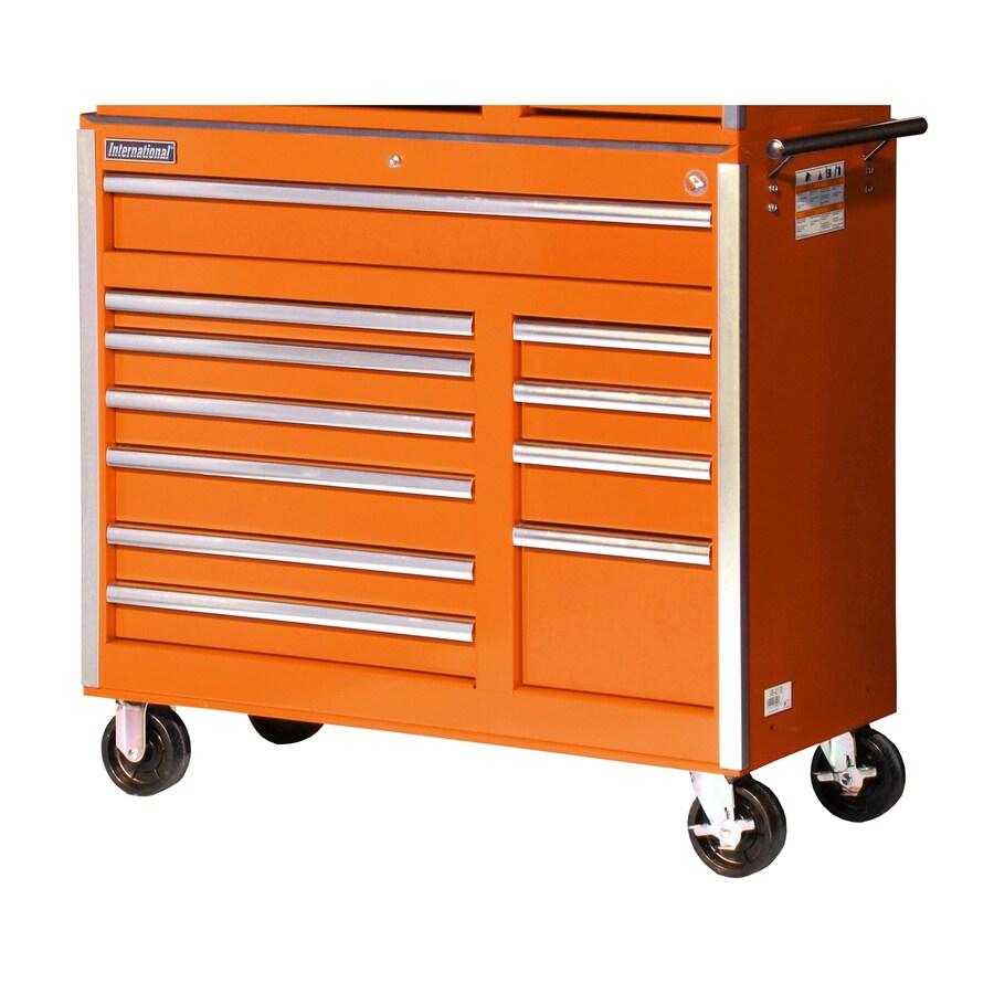 International Tool Storage 39-7/8-in x 41-1/2-in 11-Drawer Ball-Bearing Steel Tool Cabinet (Orange)