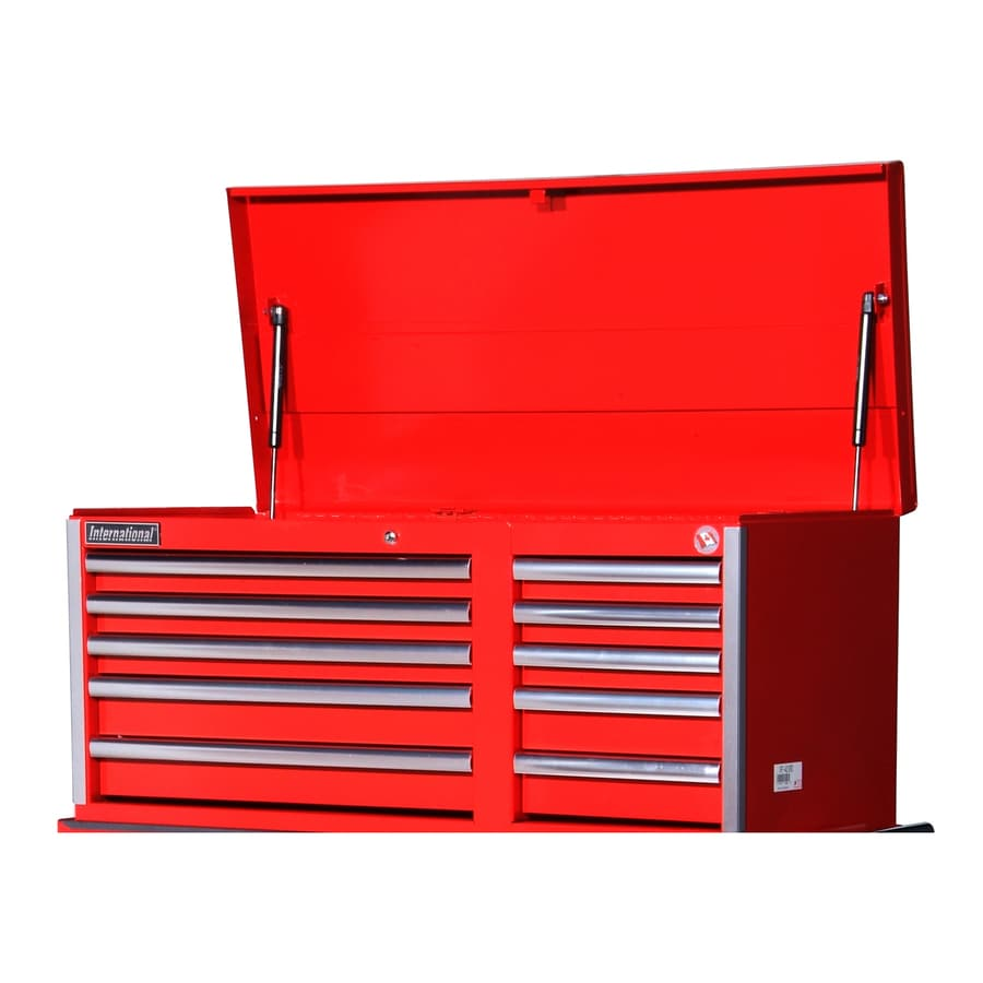 International Tool Storage Value 19.25-in x 40.875-in 10-Drawer Ball-Bearing Steel Tool Chest (Red)