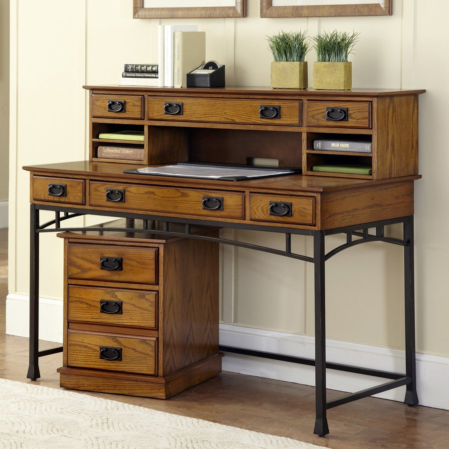 Home Styles Modern Craftsman Distressed Oak/Deep Brown Executive Desk