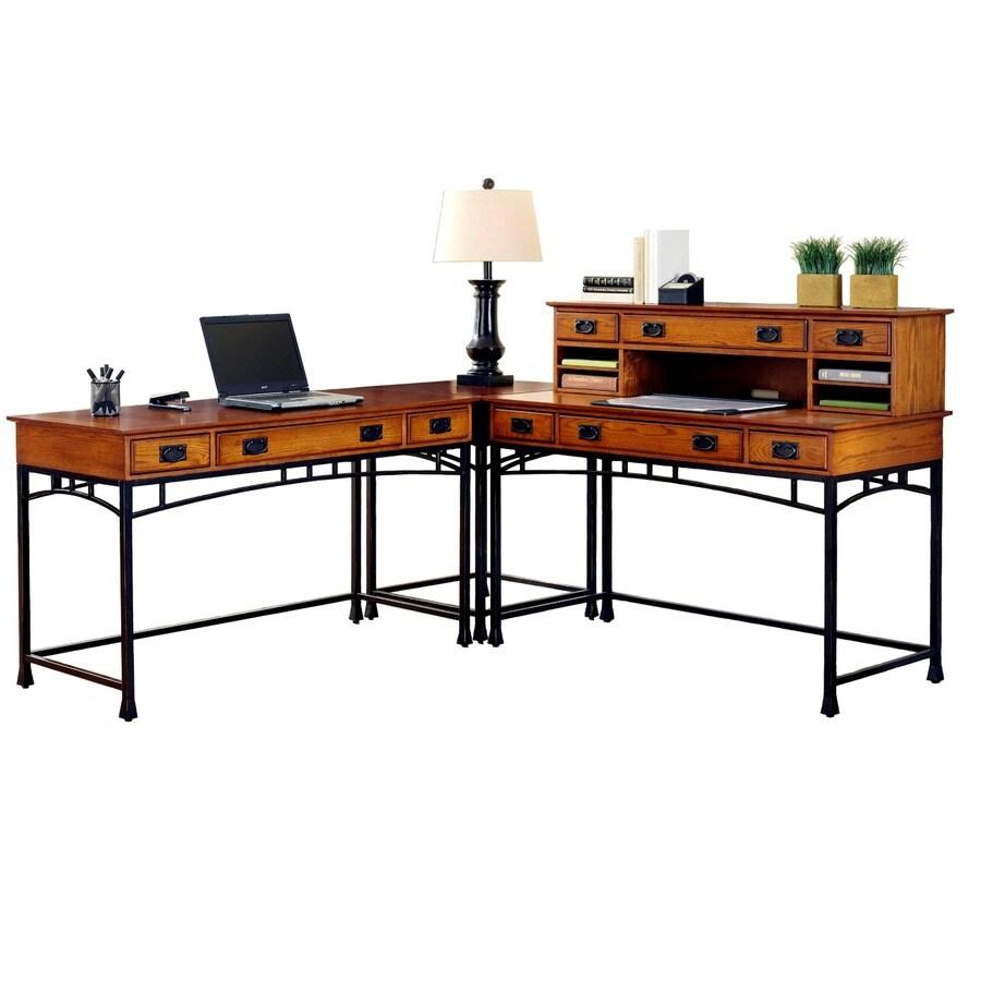 Modern craftsman distressed oak deep brown l shaped desk at lowes com