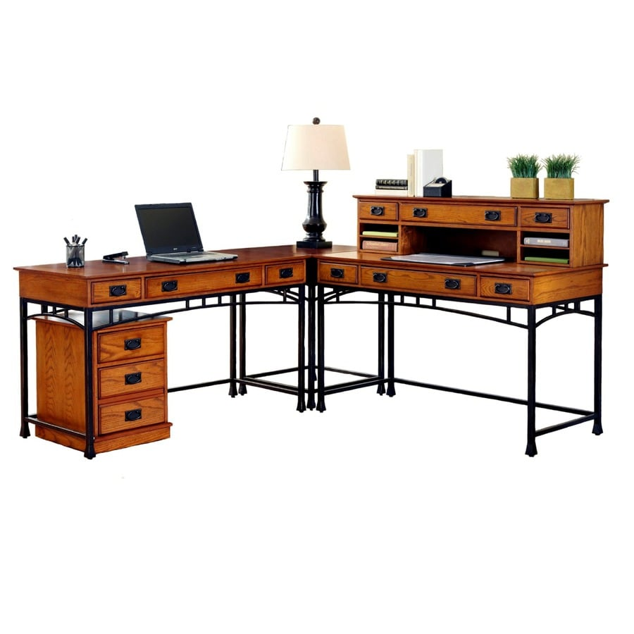 Home Styles Modern Craftsman Distressed Oak/Deep Brown L-Shaped Desk