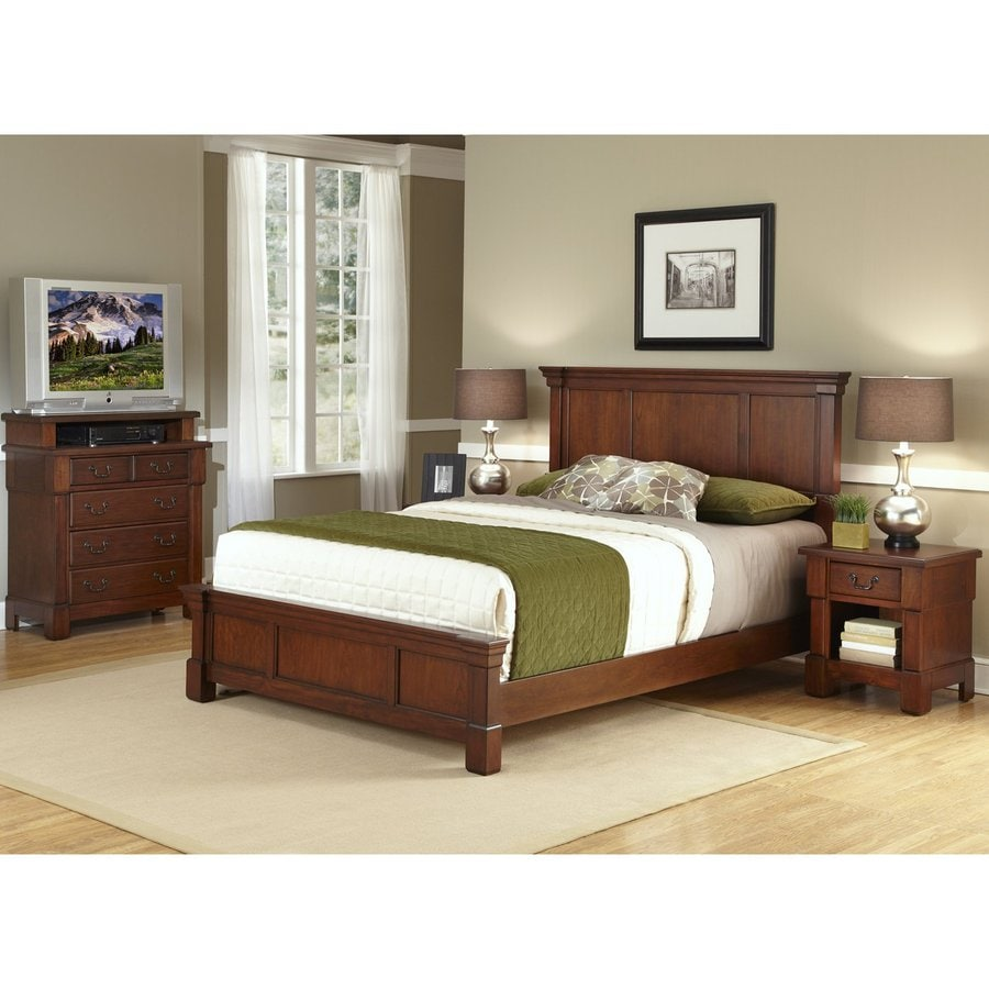 Shop home styles aspen rustic cherry king bedroom set at for Home styles bedroom furniture