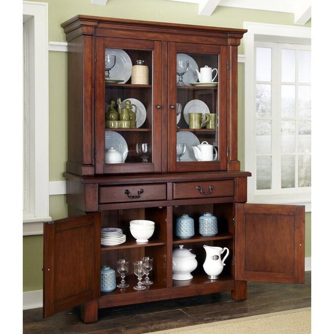 Home Styles Aspen Rustic Cherry Rectangular China Cabinet ...