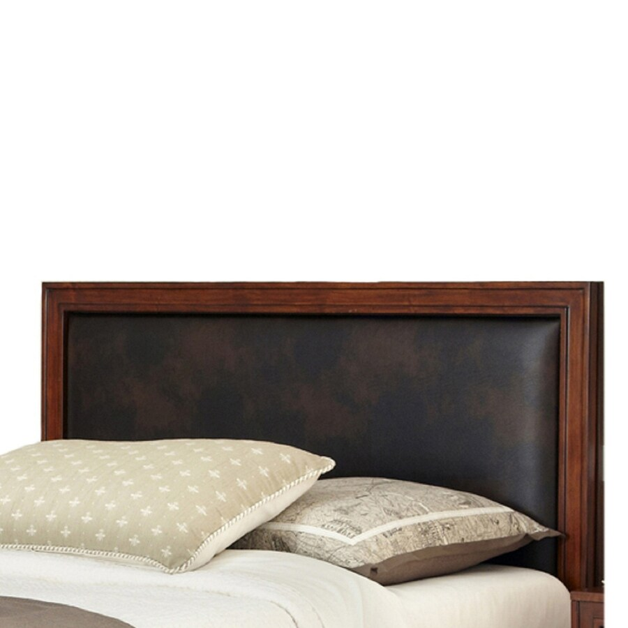 Home Styles Duet Rustic Cherry/Brown Queen Bonded Leather Upholstered Headboard