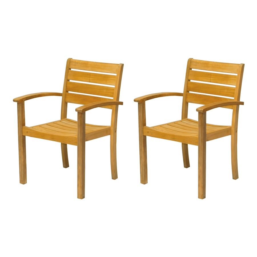 Shop three birds casual sedona 2 count teak stackable for Stackable outdoor dining chairs