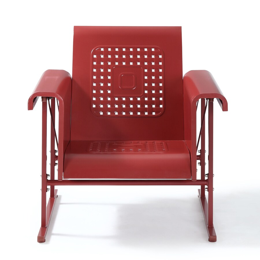 Crosley Furniture Veranda Dark Red Steel Patio Conversation Chair