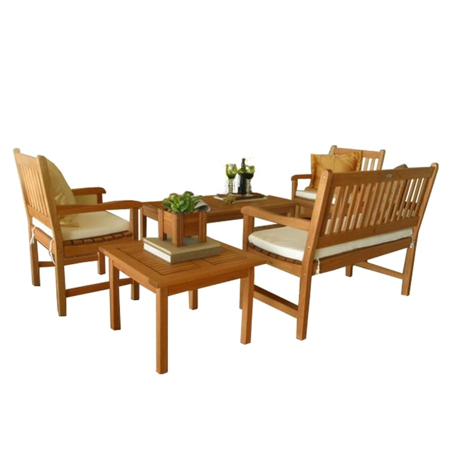 International Home Amazonia 5-Piece Eucalyptus Patio Conversation Set