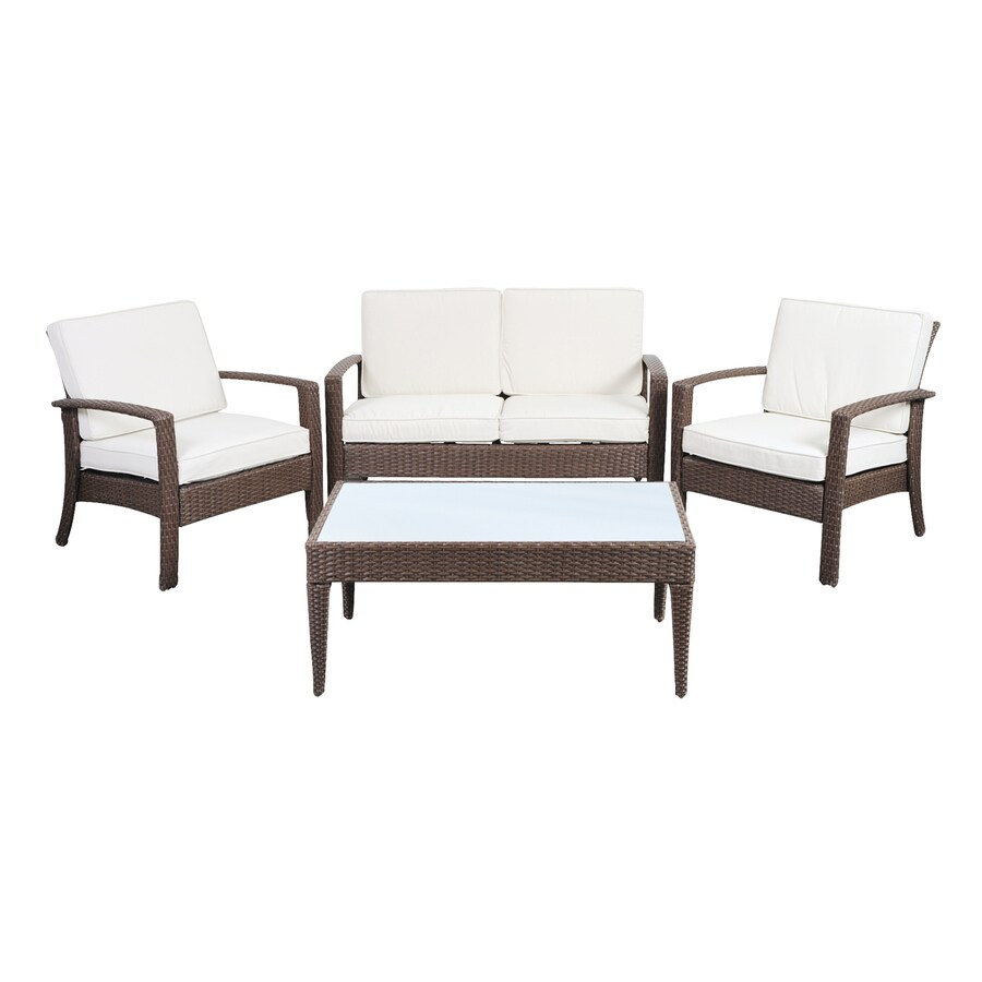 International Home Atlantic 4-Piece Wicker Patio Conversation Set