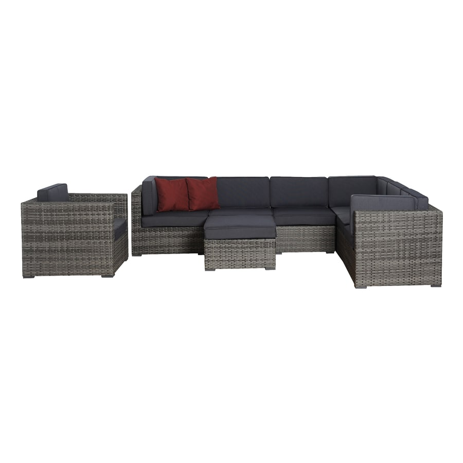 International Home Atlantic 8-Piece Wicker Patio Conversation Set