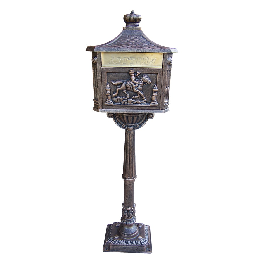 Oakland Living Chelsea 15.75-in x 59.25-in Metal Antique Bronze Lockable Ground Mount Mailbox with Post