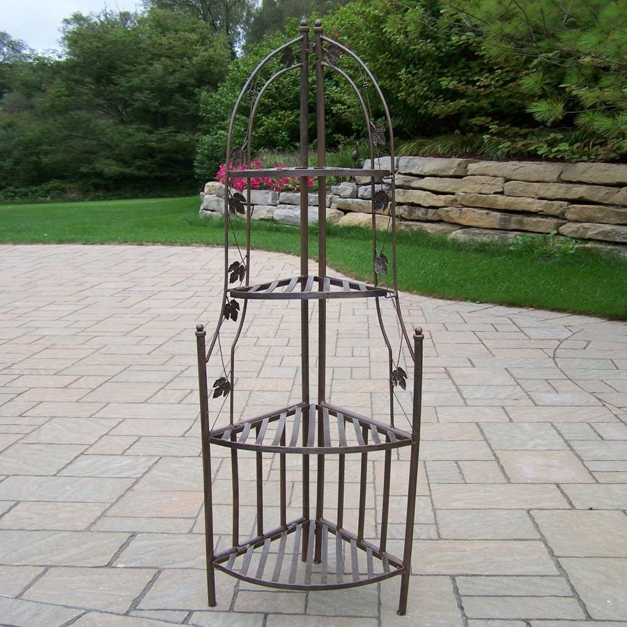 Oakland Living 60.25-in Antique Bronze Corner Wrought Iron Plant Stand