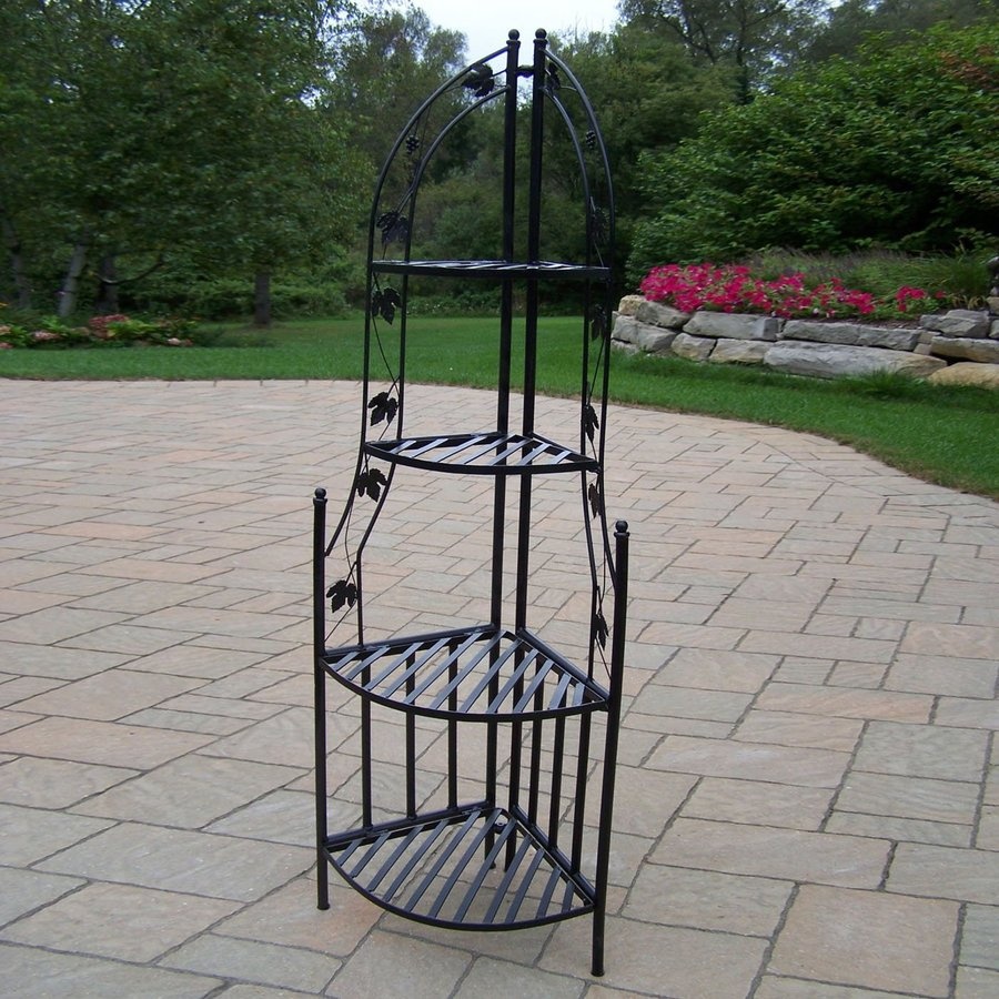 Shop oakland living 60 25 in black corner wrought iron plant stand at lowes com