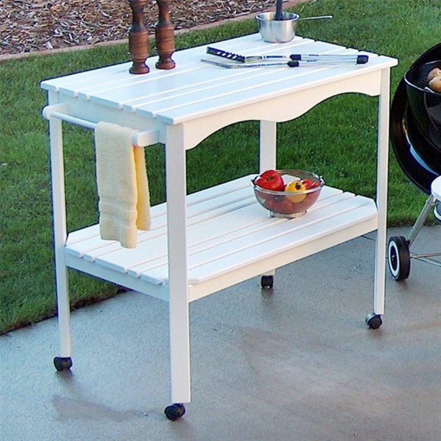 Prairie Leisure Design Satin White Outdoor Serving Cart