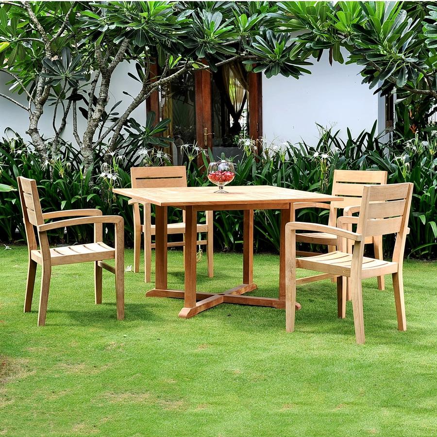 Shop hiteak furniture 5 piece natural blond teak dining for Outdoor furniture 5 piece