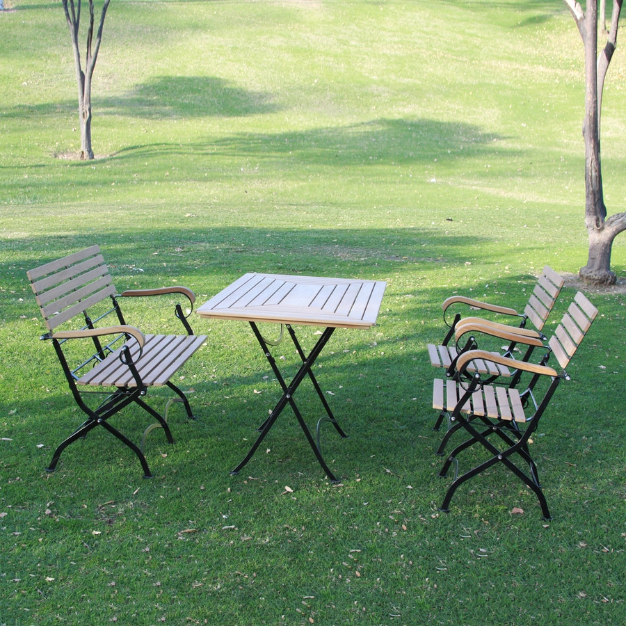 HiTeak Furniture 4-Piece Natural Blond Teak Dining Patio Dining Set