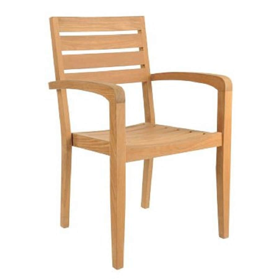 HiTeak Furniture 4-Count Natural Blond Teak Stackable Patio Dining Chair