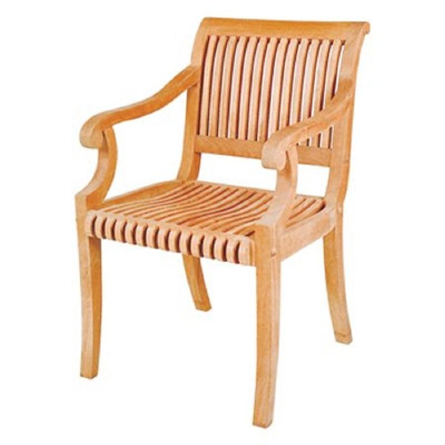 HiTeak Furniture Natural Blond Teak Stackable Patio Dining Chair