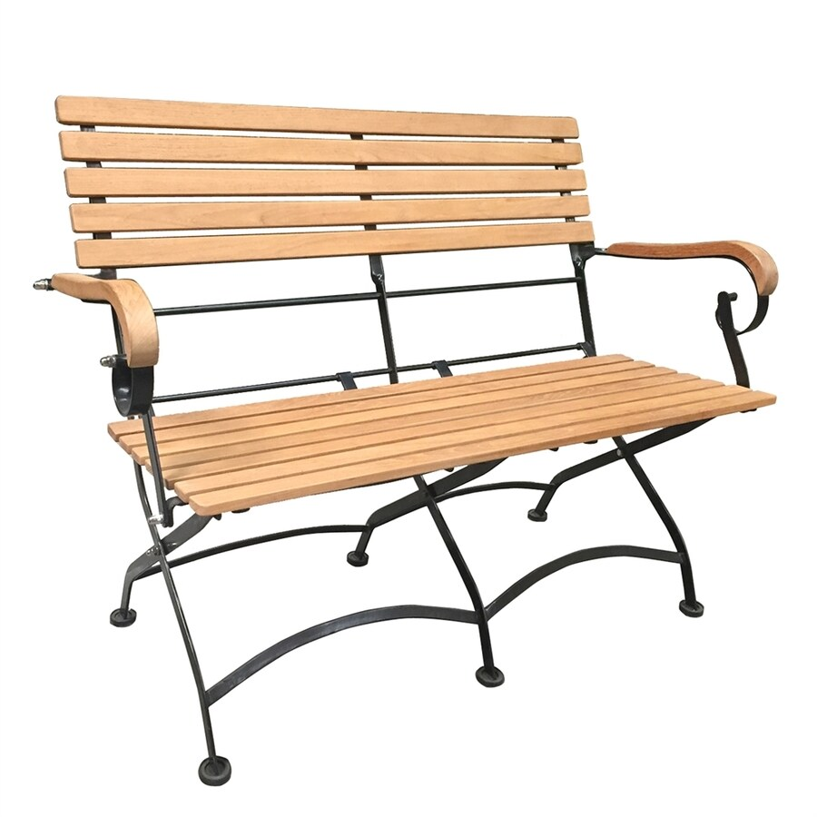HiTeak Furniture 22-in W x 44.5-in L Natural Blond Teak Patio Bench