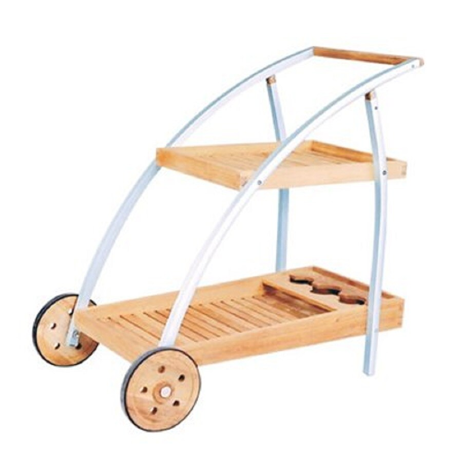 HiTeak Furniture Alu Natural Blond Teak Outdoor Serving Cart
