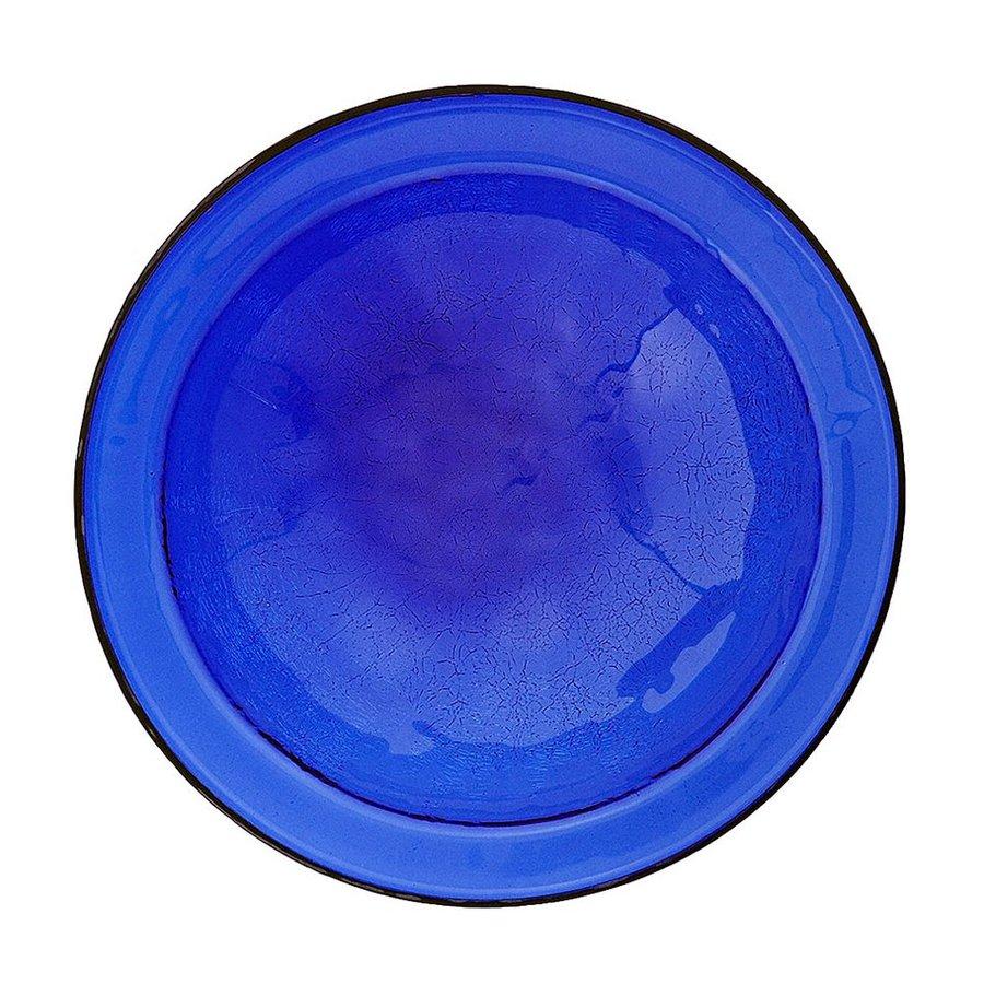 ACHLA Designs Crackle Bowl 3-in H 1-Tier Round Glass Birdbath