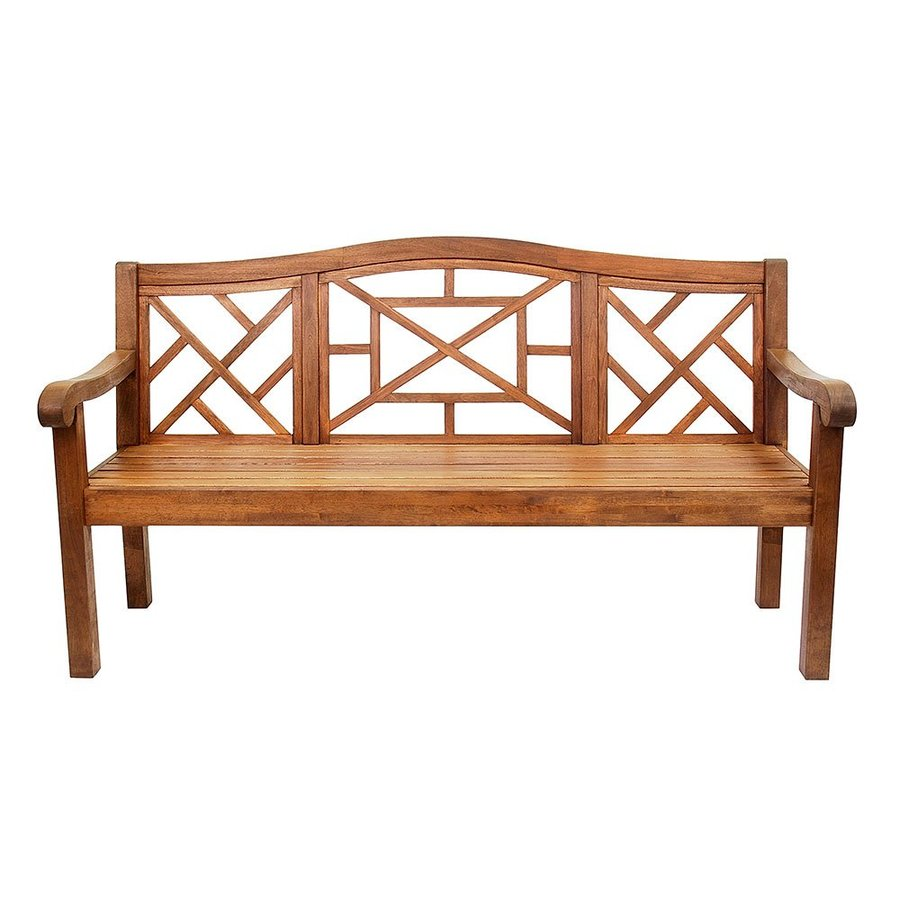 ACHLA Designs Carlton 26.75-in W x 72.5-in L Natural Oil Eucalyptus Patio Bench