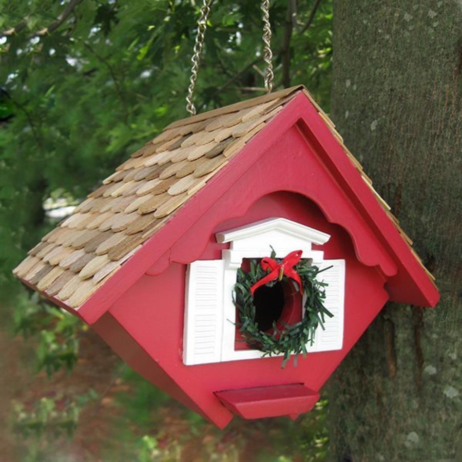 Home Bazaar 5.5-in W x 8-in H x 6.5-in D Red Bird House