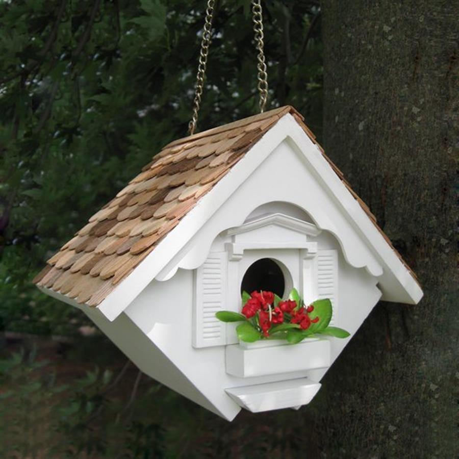 Home Bazaar 5.5-in W x 8-in H x 6.5-in D White Bird House
