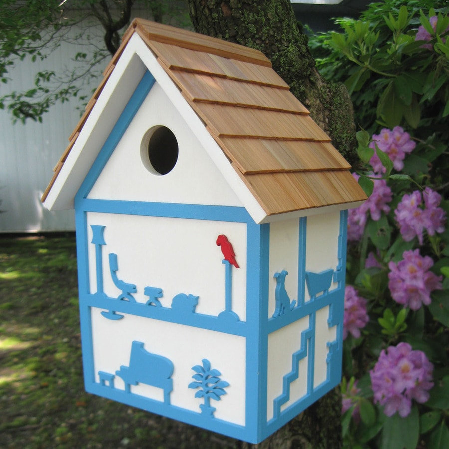 Home Bazaar 5-in W x 6-in H x 10.5-in D White Bird House