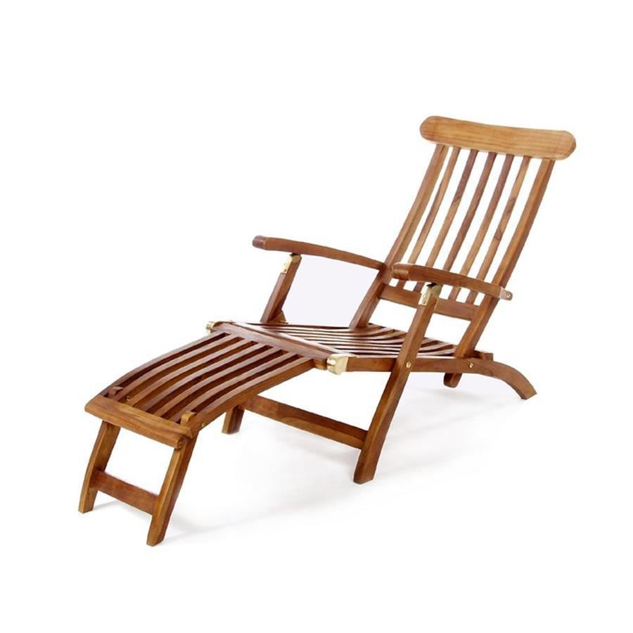 Shop All Things Cedar Brown Teak Folding Patio Chaise Lounge Chair At