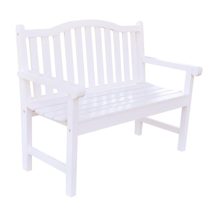 Shine Company 22-in W x 44.75-in L White Cedar Patio Bench