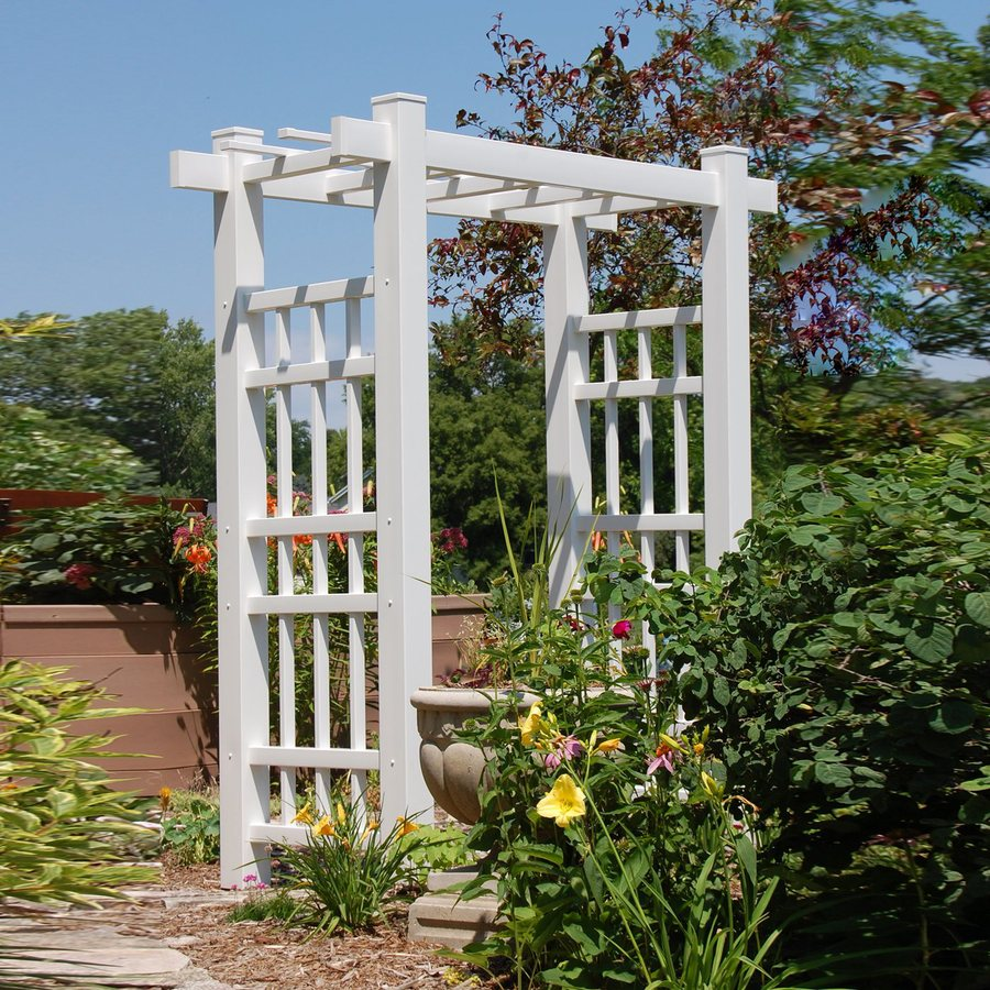 Shop dura trel 72 in w x 85 in h white garden arbor at for Garden arches designs