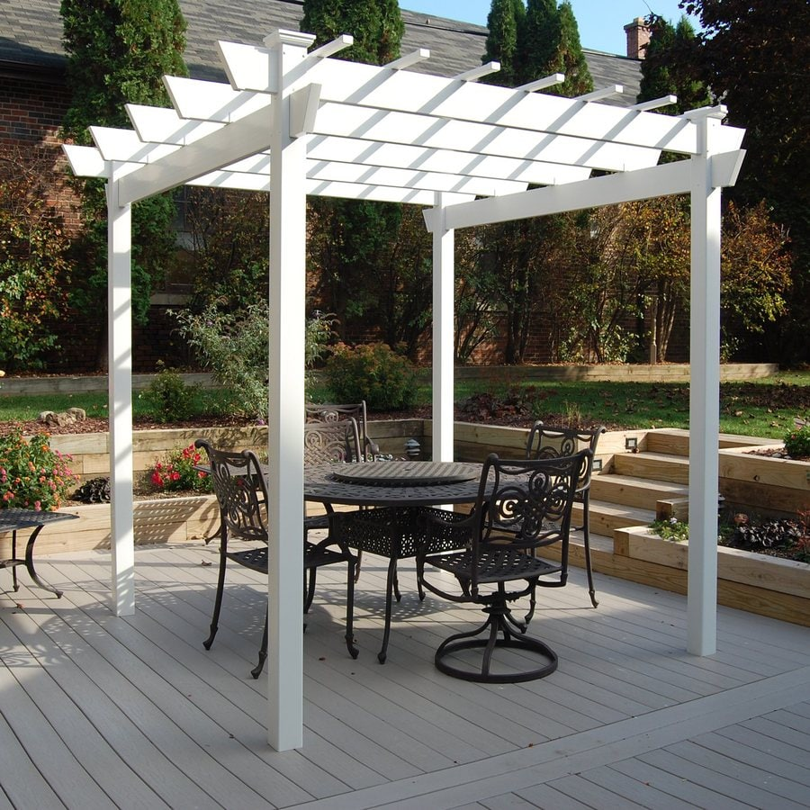 Shop dura trel 8 ft x 9 ft x 9 ft white vinyl freestanding for Photos pergolas