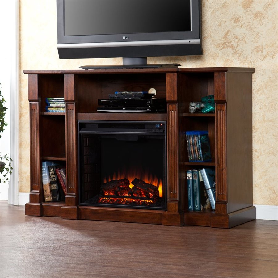Boston Loft Furnishings 52-in W 4,700-BTU Espresso Wood Fan-Forced Electric Fireplace with Thermostat and Remote Control