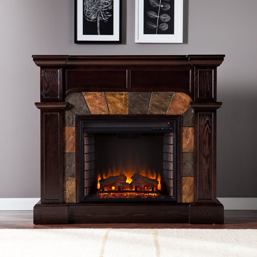 Boston Loft Furnishings 45.5-in W 4,700-BTU Espresso Wood Fan-Forced Electric Fireplace with Thermostat and Remote Control