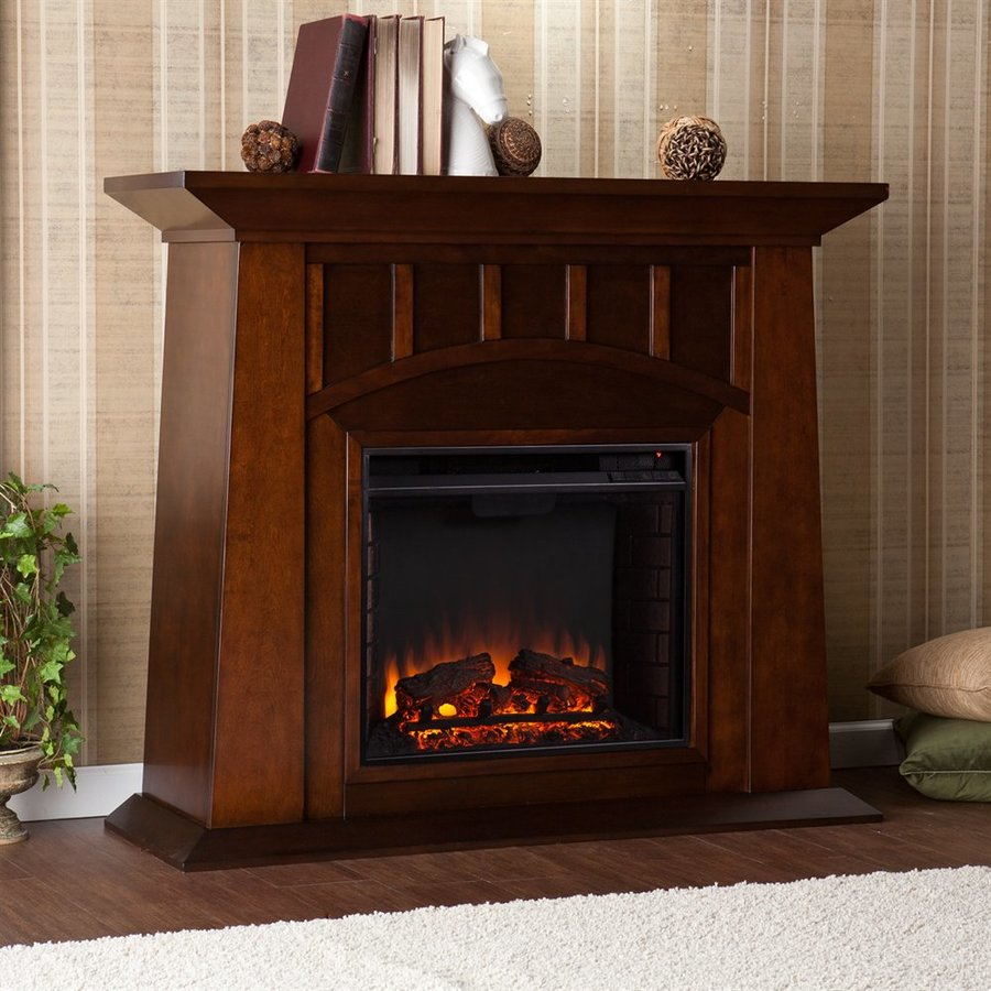 Boston Loft Furnishings 48-in W 4700-BTU Espresso Wood Veneer Fan-Forced Electric Fireplace with Thermostat and Remote Control