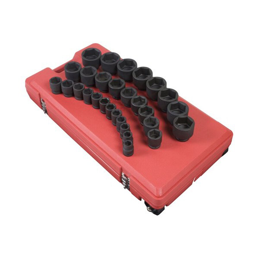 Sunex Tools 29-Piece 3/4-in Drive Standard (SAE) 6-Point Impact Socket Set with Case