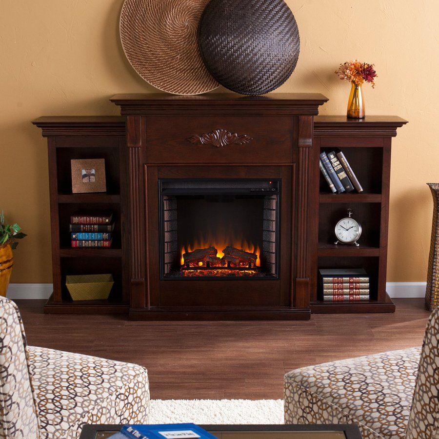 Boston Loft Furnishings 70.25-in W 4700-BTU Espresso Wood Fan-Forced Electric Fireplace with Thermostat and Remote Control