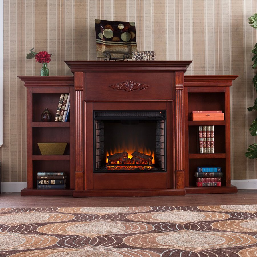 Boston Loft Furnishings 70.25-in W 4700-BTU Classic Mahogany Wood Fan-Forced Electric Fireplace with Thermostat and Remote Control