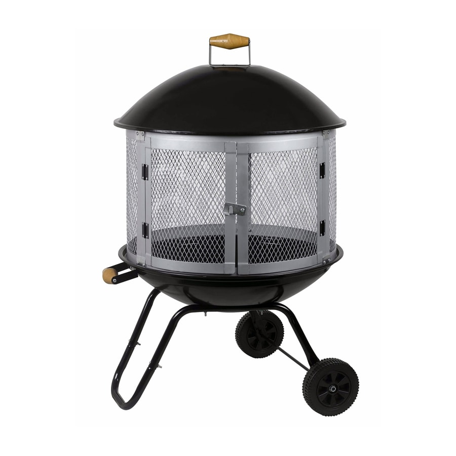 Fire Sense Black/Silver Steel Outdoor Wood-Burning Fireplace