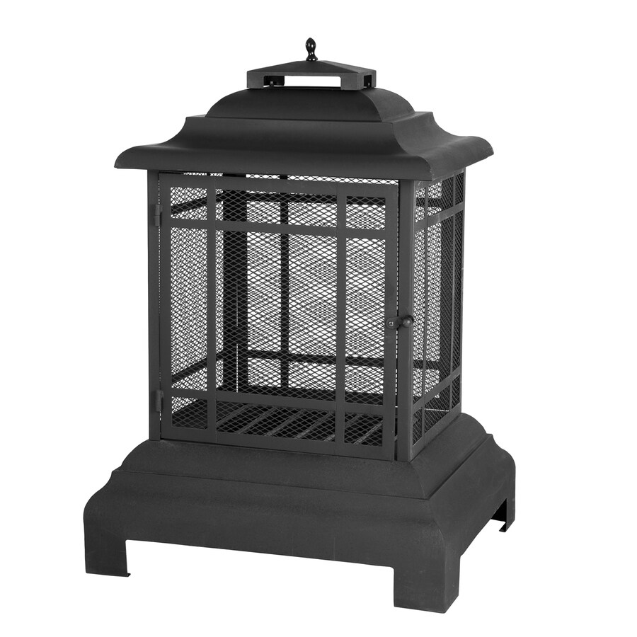 Fire Sense Black Steel Outdoor Wood-Burning Fireplace