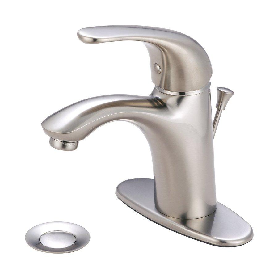 Pioneer Industries Vellano Brushed Nickel 1-Handle 4-in Centerset WaterSense Bathroom Faucet (Drain Included)
