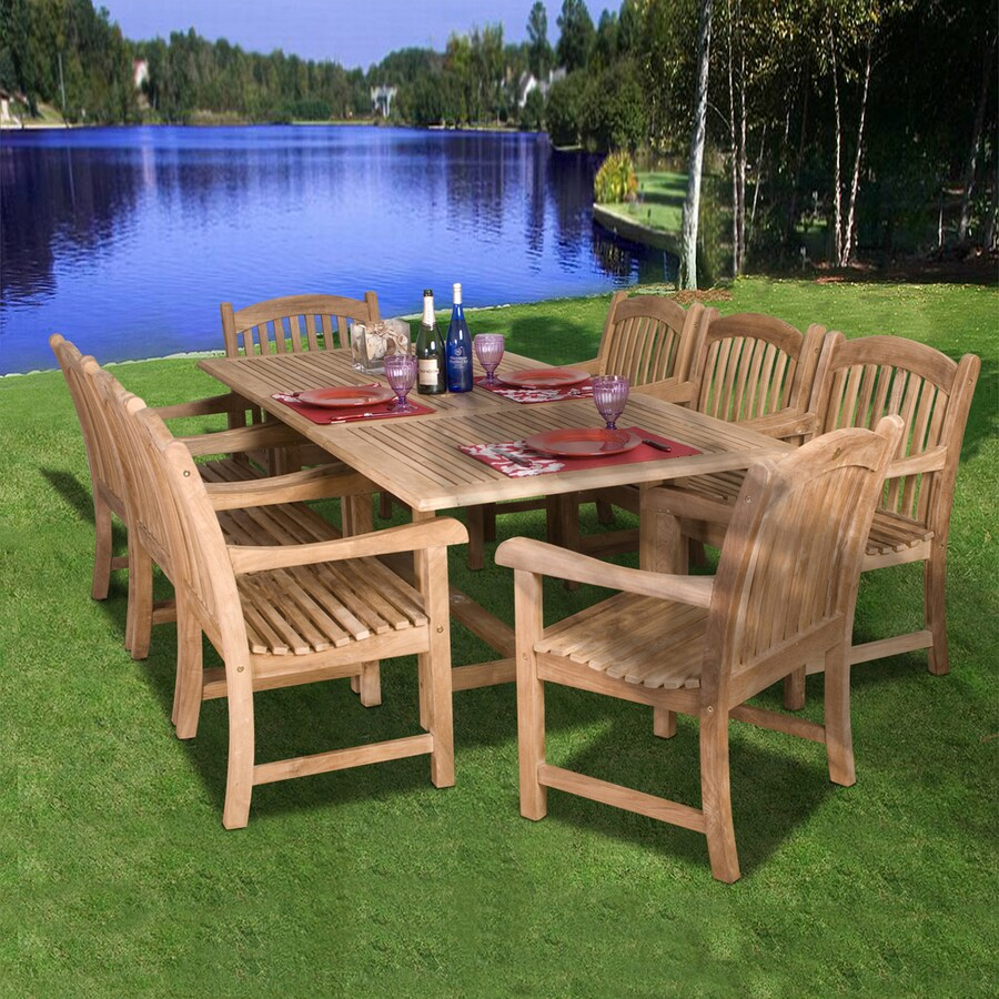 International Home Amazonia 9-Piece Teak Patio Dining Set