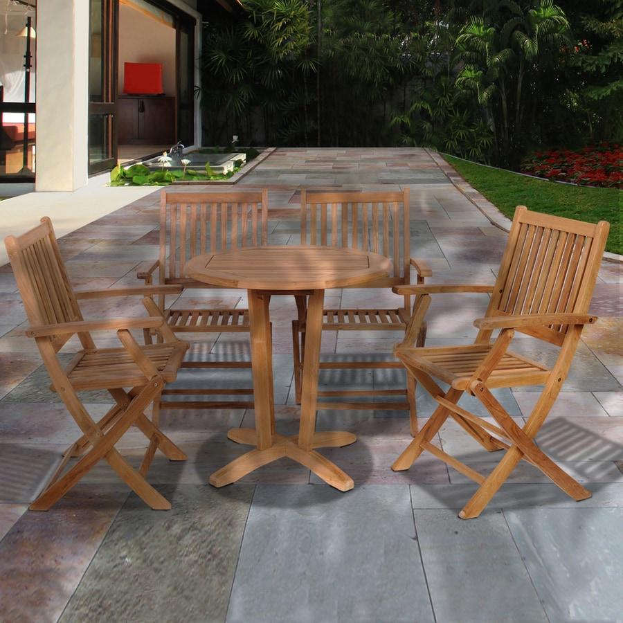 International Home Amazonia Teak 5-Piece Light Brown Teak Bar Patio Dining Set