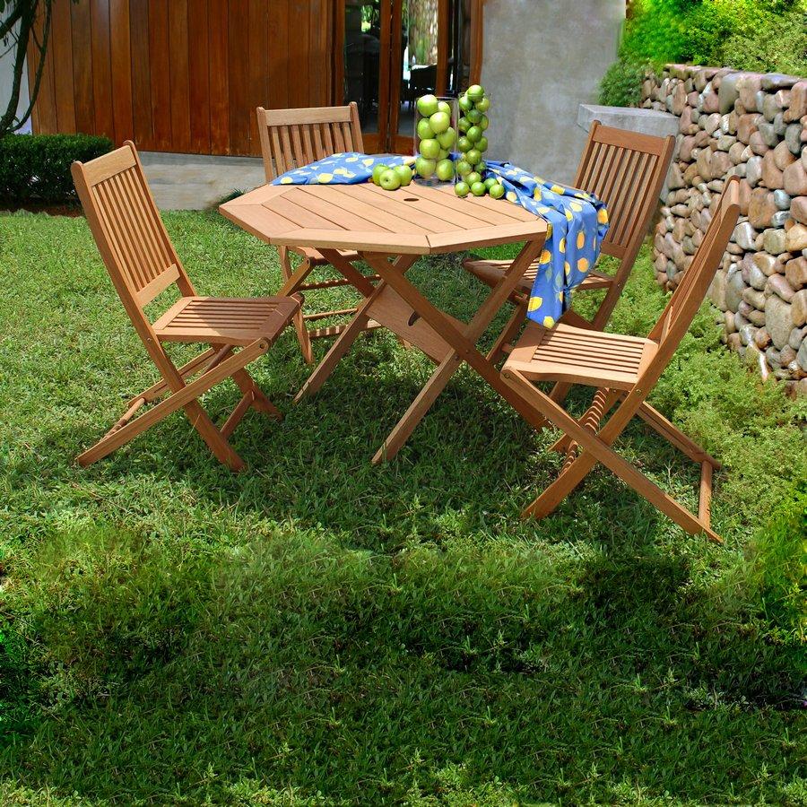 International Home Amazonia 5-Piece Brown Eucalyptus Patio Dining Set