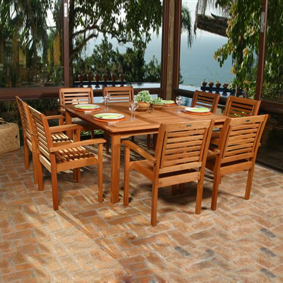 Shop international home amazonia 9 piece brown eucalyptus for Brown dining table set